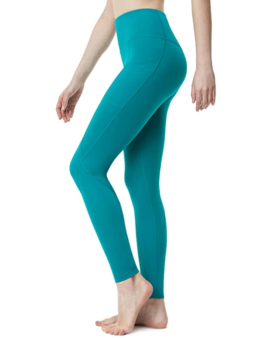 TSLA Yoga Pants High-Waist Tummy Control w Side/Hidden Pocket Series, Pocket Aerisoft(fyp74) - Blue Green, Medium (Size 8-10_Hip39-41 Inch) best yoga leggings