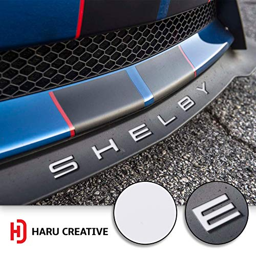 - Haru Creative - Front Splitter Lip Hood Grille Letter Insert Overlay Vinyl Decal Compatible with and Fits Mustang Shelby GT350 2015-2018 - Matte White