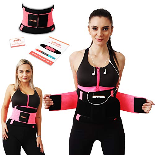 AMPERG Waist Trimmer Belt for Women – Waist Trainer with Phone Pouch – Helps with Toxins and Weight Loss, Body Shaping, and Abs Toning – Stomach Shaper and Back Support – Premium Neoprene