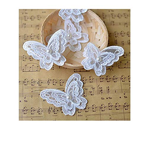 Toonol 10piece White Organza Embroidery Fabric Lace Clothes 3D Beading Butterfly Flower Patch Chiffon Dress ()