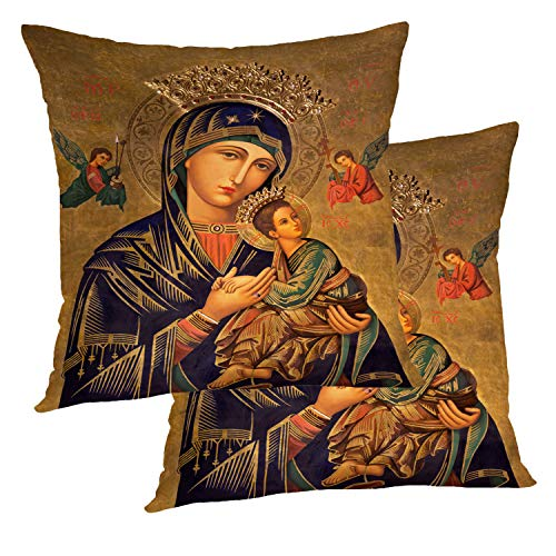 BaoNews Decorative Pillow Covers, Spain Painting Lady Help Jesus Mary Mother Virgin God Throw Pillow Cover 18X18 Inch Cotton Square Cushion Decorative Pillow Case for Sofa Bed