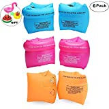 Jiareet PVC Arm Floaties Inflatable Swim Arm Bands Floater Sleeves Swimming Rings Tube Armlets for Kids Toddlers and Adults 6 Pack (Pink Blue Orange)