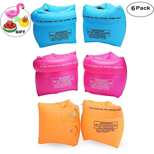 - Furry Sunny PVC Arm Floaties Inflatable Swim Arm Bands Floater Sleeves Swimming Rings Tube Armlets for Kids Toddlers and Adults 6 Pack (Pink Blue Orange)