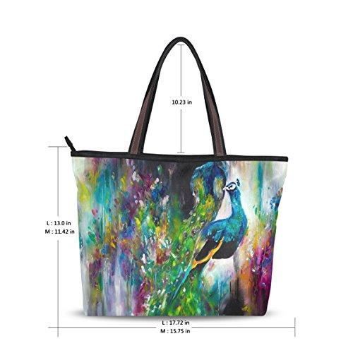 Women Large Tote Top Handle Shoulder Bags Peacock Feather Ladies Handbag L by JSTEL