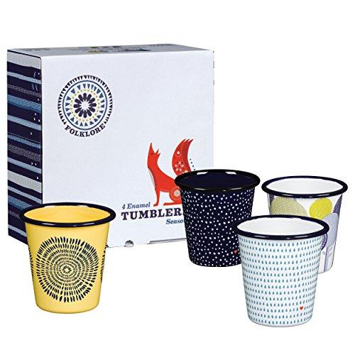 Folklore Enamel Coffee Cup Tumblers Seasons Designs (Set of - Enamel Coffee Cup