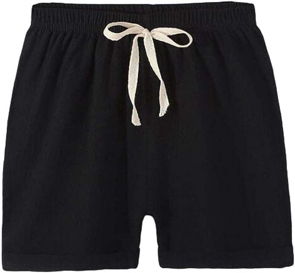fengduo Ragazzo Ragazze Cotone Lino Shorts Vita Elastica Strappy Pantaloncini Tinta Unita Sciolto Estivi Brevi Pants Spiaggia Shorts