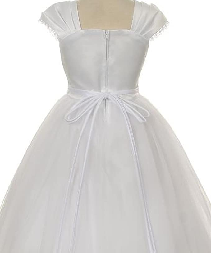 Amazon.com: Flower Girl Cap Sleeved Beaded White Dress First Holy Communion Size 2-16 (8, Ivory): Clothing