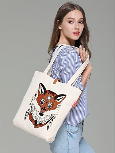 So'each Women's Animal Ethnic Fox Graphic Top Handle Canvas Tote Shopping Bag