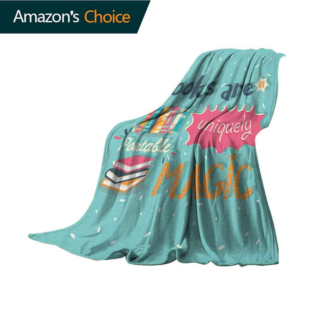 Book Soft Blanket Microfiber,Books are a Uniquely Portable Magic Inspirational Quotation Print in Pastel Colors for Bed & Couch Sofa Easy Care,30'' Wx50 L Multicolor