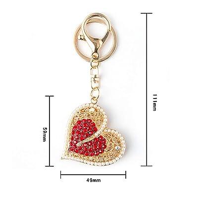 Black Ribbon Handbag Purse Keychain Key Ring Charm Car Accessory Pink Rhinestone