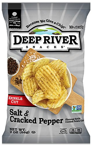 (Deep River Snacks Salt & Cracked Pepper Kettle Cooked Potato Chips, 2-Ounce (Pack of 24))