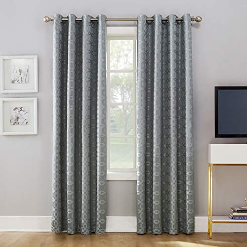 - Sun Zero Rowes Woven Trellis Blackout Lined Grommet Curtain Panel, 52