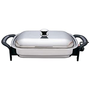 Precise Heat 16-Inch Rectangular Surgical Stainless Steel Electric Skillet