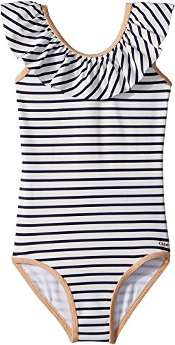 Chloe Kids Baby Girl's Striped One-Piece Swimsuit (Toddler/Little Kids) Caban 2T (Toddler) by Chloe