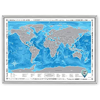 Amazon framed discovery map world framed scratch off world framed discovery map world framed scratch off world map with detailed travel content wooden sciox Gallery