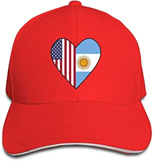 GJdd_diy Unisex Half Argentina Flag Half USA Flag Love Heart Adult Dad Hat