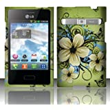 LG Optimus Logic L35g, LG Dynamic L38c, LG Zone Vs410, Luckiefind Snap-on Rubberized Hard Plastic Cover Case (Designer Hawaiian Flower)