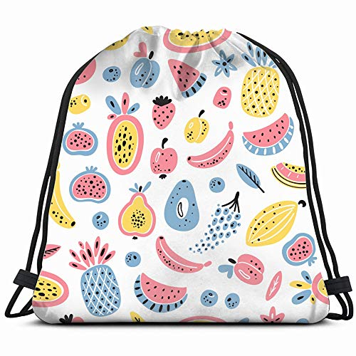 Cartoon Fruits Berries Food And Drink Fruit Drawstring Backpack Gym Sack Lightweight Bag Water Resistant Gym Backpack For Women&Men For Sports,Travelling,Hiking,Camping,Shopping - Berry Banana Drink