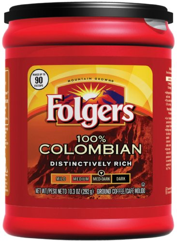 Folgers 100% Colombian Ground Coffee, 10.3 Ounce (Pack of 6)