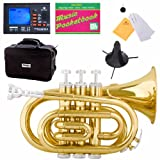Mendini MPT-RL Red Lacquer Brass Bb Pocket Trumpet
