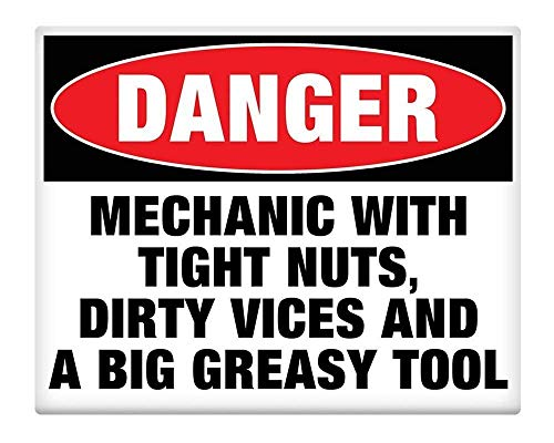 Metal Sign 8x12 Inches Mechanic with Tight Nuts Dirty Vices Big Greasy Tool Metal Sign SELF Adhesive Bar Vintage Kitchen Yard Garden Coffee Pub Home Gifts Art Decor from GRYD