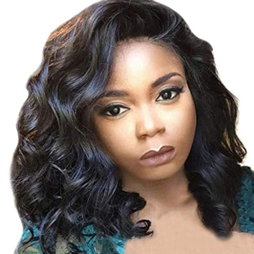 Clearance Short Curly Wavy Wig for Black Women Medium Long Hair Full Wigs Heat Resistant Synthetic Fiber Costume Party Female Wig (Black)]()