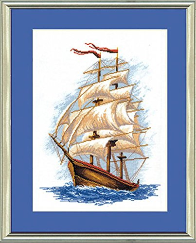 Embroidery Counted cross stitch kit Charivna mit #207 Sailboat , Sea storm 33x43 cm / 12.99x16.93 in (Three Sailboats)