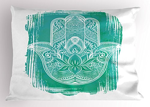 Ambesonne Hamsa Pillow Sham, Grungy Display with Fatima Hand Flourishing Lotus Meditation Zen Ethnic Culture, Decorative Standard King Size Printed Pillowcase, 36 X 20 inches, Turquoise White by Ambesonne