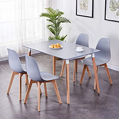 Goldfan Wood Rectangle Dining Table And 4 Chairs Kitchen Table Set Morden Dining Room Set Grey Amazon Co Uk Kitchen Home