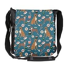 Boxer Dog Sushi Cute Pattern Multi-Purposes Adjustable Messenger Bag Traveling Briefcase Shoulder Bag For Adult Travel And Business Trip