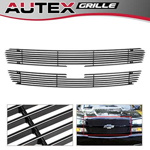 (AUTEX C65717H Black Horizontal Upper Billet Grille Insert Fits For 2003-2005 Chevy Silverado 1500/1500 SS/1500 HD, 2003-2004 Chevy Silverado 2500/3500/2500HD, 2002-2006 Chevy Avalanche 1500/2500 Grill)