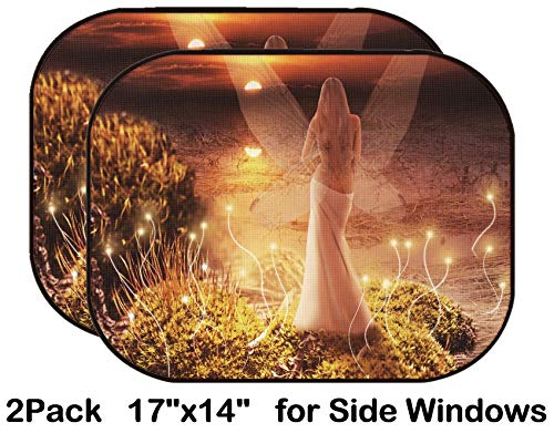 Liili Car Sun Shade for Side Rear Window Blocks UV Ray Sunlight Heat - Protect Baby and Pet - 2 Pack Image ID: 24663264 Fantasy Magic World Fairy with Transparent Wings Standing on gr ()