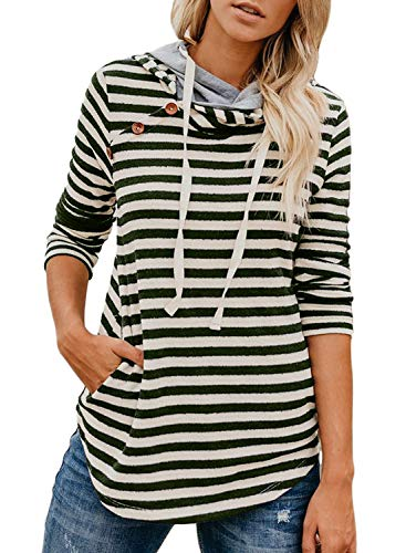 Women's Striped Long Sleeve Double Hooded Sweatshirts Button Drawstring Pullover Hoodie Tops Casual Blouse with Pocket Green M 8 10
