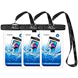 MoKo Universal Waterproof Phone Case [3 Pack] Waterproof Phone Pouch Dry Bag with Neck Strap for iPhone X/8 Plus/8, Samsung Galaxy S9 plus/S9, BLU, MOTO & more - Black