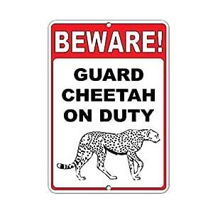 Cuidado Guardia Cheetah on duty decoración del hogar signo cartel ...