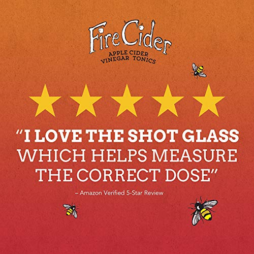 Fire-Cider-Apple-Cider-Vinegar-Tonic-with-Honey-Dosage-Shot-Glass-Original-Flavor-Natural-Detox-Cleansing-Pure-Raw-Certified-Organic-Ingredients-No-Heat-Processed-16-Shots-8-oz