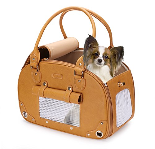 (PetsHome Dog Carrier Purse, Pet Carrier, Cat Carrier, Foldable Waterproof Premium Leather Pet Travel Portable Bag Carrier for Cat and Small Dog Home& Outdoor Brown)