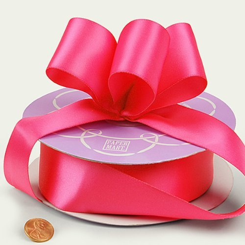 Paper Mart Shocking Pink Double Face Satin Ribbon, 1.5 Inches X 50 Yards