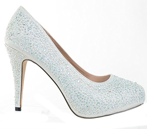 White Wedding Jeweled Glitter Pärlstav Formell Parti Låga Klackar Pumps