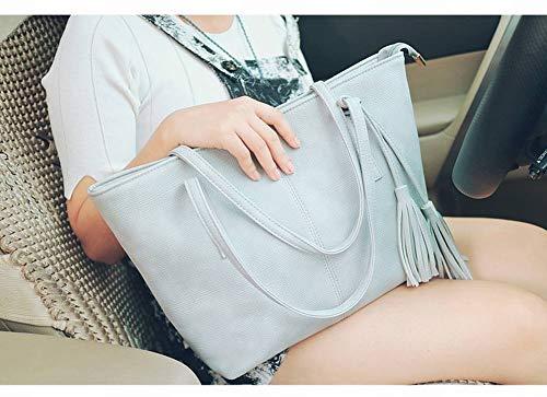 grigio grande Dabao retrò le creativa Borsa Su moda per Borsa funzione femminile personalità Borsa capacità multi grigio donne spalla diagonale gBHxnOY