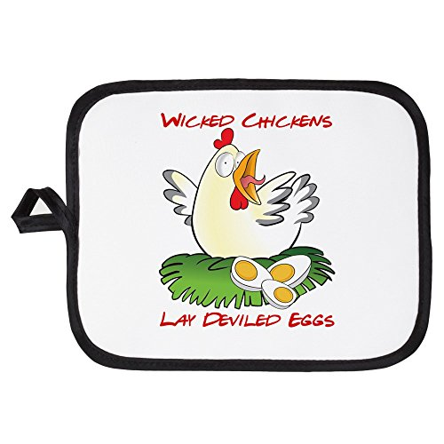 CafePress - Wicked Chickens Lay Deviled Eggs - Pot Holder, Heat Resistant, Fabric Trivet