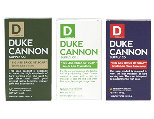 Duke Cannon Men's Big Ass Brick of Soap Set - Productivity, Naval Supremacy, (Aquamarine Soap)