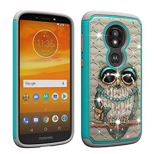 Price comparison product image Berry Accessory Moto E5 Play Case, Moto E5 Cruise Luxury Glitter Sparkle Bling Case, Studded Rhinestone Crystal Hybrid Dual Layer Armor Case for Motorola E Play (5th Generation) Cute Owl