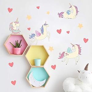 Cartoon Cute Unicorns Star Heart Wall Stickers Wallpaper DIY Vinyl Home Wall Decals Kids Living Room Bedroom Girls Room Decor