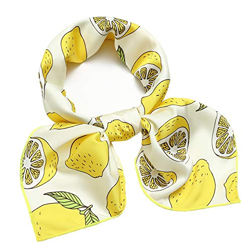 (Silk Like Scarf Square Satin Hair Scarf Fashion Lemon Neck Scarfs for Women Yellow 27'' x 27'')