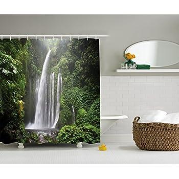 Amazon.com: Nature Shower Curtain Rainforest Decor by Ambesonne ...