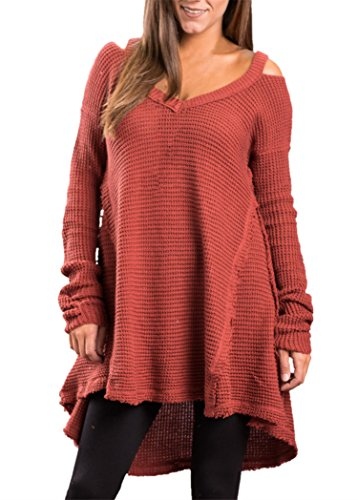 Sidefeel Women V Neck Cold Shoulder Sleeves Sweater Knitted Pullover X-Large Red