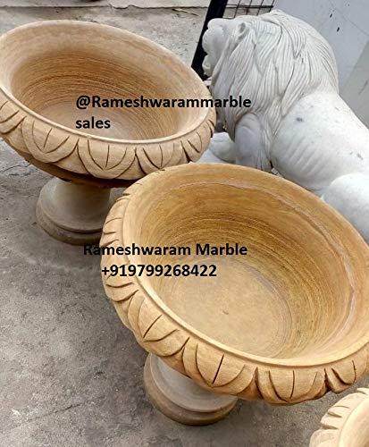 (RM 24 18inch Sandstone Vase Birdbath Pot Pair for Outdoor Garden Landscaping Material)