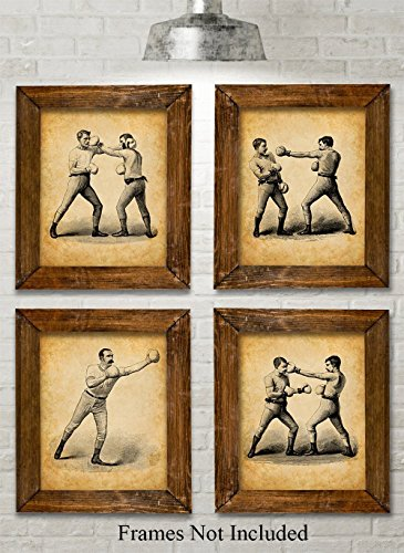 - Original Boxing Art Prints - Set of Four Photos (8x10) Unframed - Great Gift Under $20 for Boxers Or Man Cave/Bar Decor Under $20