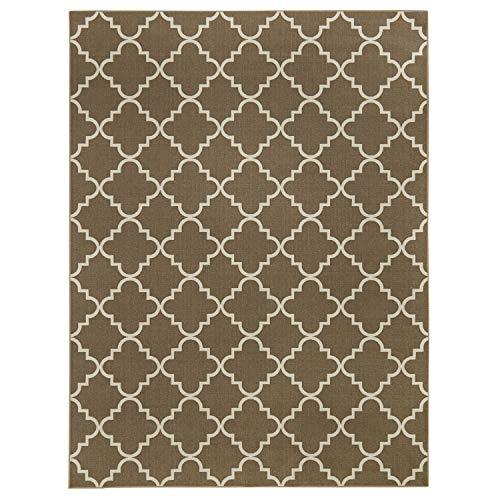 Mohawk Home 11836 456 024096 EC Soho Fancy Trellis Geometric Lattice Printed Area Rug, 2'x8', Oak Brown (Lattice Rug Brown)